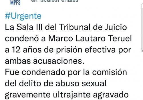Abuso sexual: 12 años de prisión efectiva para Lautaro Teruel